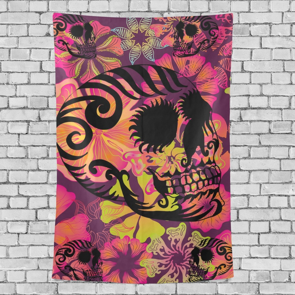 MYPOP Skull Flower Tapestry Wall Decor Living Room Dorm Tapestries DIY 90 x 60 inches