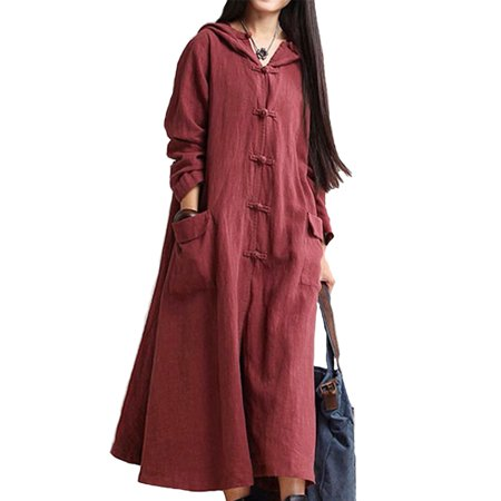 Women Autumn Casual Loose Maxi Dress Long Sleeve Hooded Cotton Linen Maxi - Hood Dress