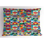 Colorful Pillow Sham, Horizontally Aligned Composition of Chevron Triangles Vibrant Colors Native Design, Decorative Standard Queen Size Printed Pillowcase, 30 X 20 Inches, Multicolor, by Ambesonne