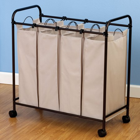 Household Essentials Rolling Quad Sorter Laundry Hamper with Natural Polyester Bags, Antique Bronze (Laundry Sorter With Mesh Bags)