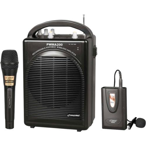 PylePro Rechargeable Portable PA System with Wireless Lavalier/Headset MIC and 1 Wired Mic - 80 W Amplifier - Speaker -