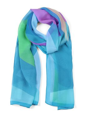 Chiffon Shawl Long Geometric Beach Silk Scarves for Women Blue/Purple