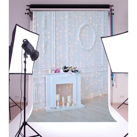 HelloDecor Polyster 5x7ft Photography Background Christmas Decorations Ideas White Fireplace Happy Night Pray Bless Chic Wall Interior Children Adult Family Photo Portraits Backdrop ()