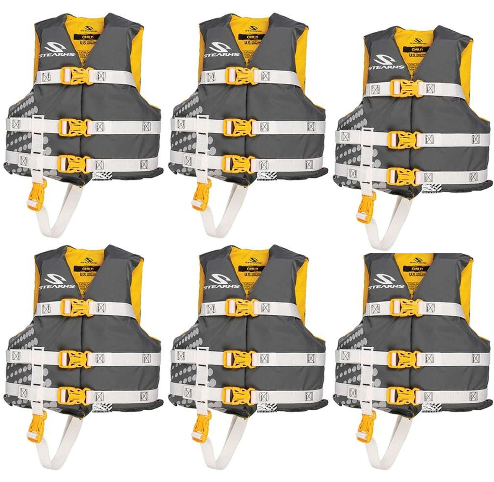 (6) COLEMAN Stearns Classic Series Kids Life Jacket Flotation Vests 30-50Lbs by COLEMAN