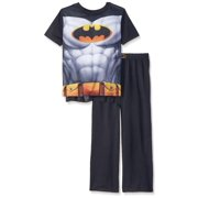 Batman Boys' Pajama Short Sleeve Top with Cape and Lounge Pants 2 Piece Sleepwear Set, Black, Size: Medium