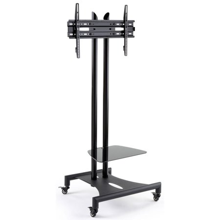 Displays2go Wheeled Plasma Screen TV Holder, Camera Shelf, Height Adjustable – Black (WXNTVMBFB)