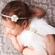 Cute Baby Angel Wings Set Photo Props Wings Headband Feather Crystal Set