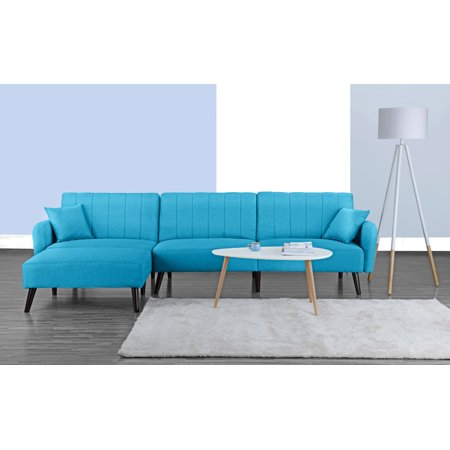 Modern Style Linen Fabric Sleeper Futon Sofa, Living Room L Shape Sectional Couch with Reclining Backrest and Chaise Lounge (Sky Blue) ()