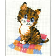 """Kitten Counted Cross Stitch Kit, 6"""" x 7"""" 10 Count"""