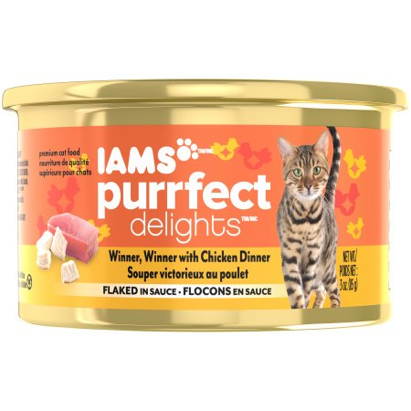 (24 Pack) Iams Purrfect Delights Flaked In Sauce Winner Winner With Chicken Wet Cat Food, 3 oz. Cans