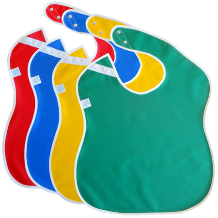 Large Waterproof Baby Bibs for Toddlers with Snap Buttons (4-pack, Assorted (Little Fan Snap Baby Bib)