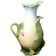 11.5 Inch Lotus Wrapped White Pitcher Orange Dragonfly Green Frog