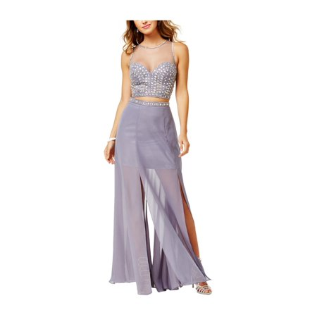 Say Yes to the Prom Womens 2-Pc. Illusion Gown Dress frenchgunmetal