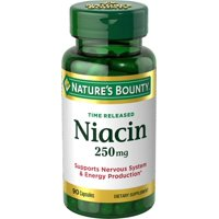 Nature's Bounty Time Released Niacin Dietary Supplement Capsules, 250mg, 90 count