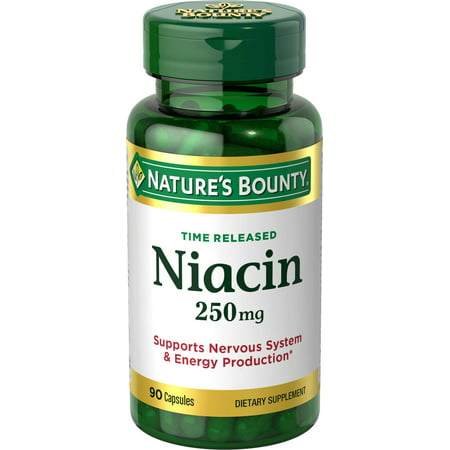 Nicotinic Acid Niacin (Nature's Bounty Time Released Niacin Dietary Supplement Capsules, 250mg, 90 count )