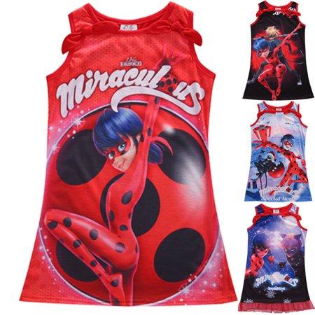 Bug Costumes For Kids (Girls Miraculous Ladybug Marinette Dupain Cheng Cosplay Costume Dreess Age)