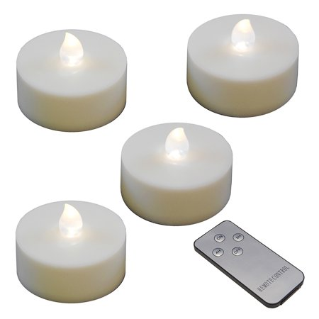 Tea Lights Battery Operated Bulk (LumaBase Battery Operated Extra Large LED Tea Lights with Remote Control and 2 Timers, White, 4)
