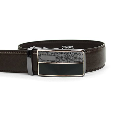 Men's Auto Lock Buckle Genuine Leather Rachet Dress Belt - Lock Belt Buckle