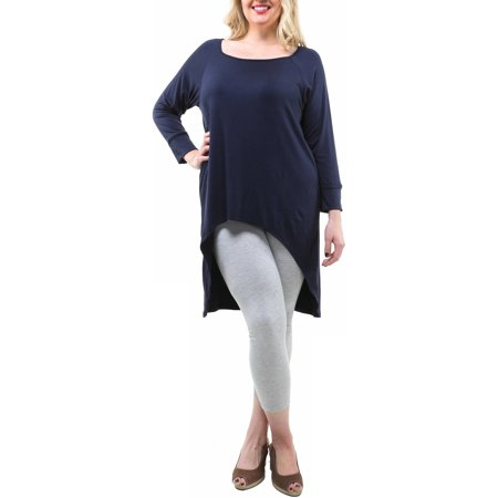24/7 Comfort Apparel Women's Plus Size High-Low Long Sleeve Extra Long Tunic Top