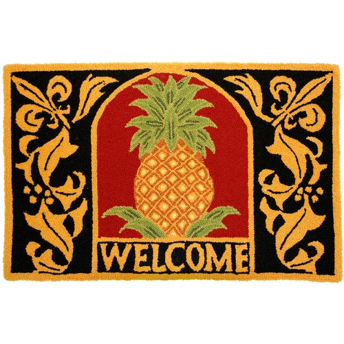 Homefires Welcome Pineapple Gold/Black Area Rug