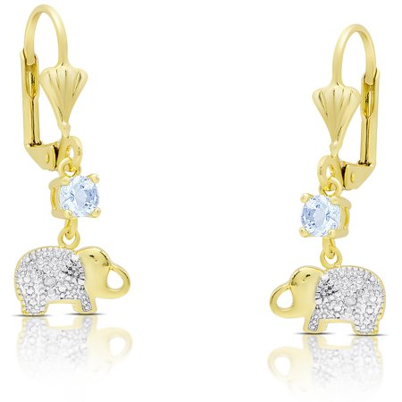 Gold Over Sterling Silver Blue Topaz and Diamond Accent Elephant Dangle Earrings