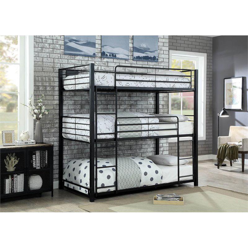 Furniture of America Botany Modern Twin Triple Bunk Bed in Sand Black