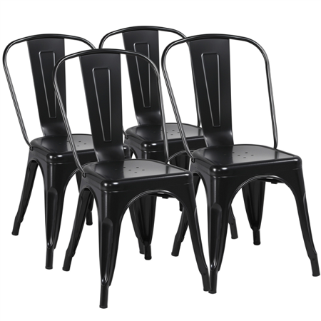 Modern Iron Metal industrial Indoor/Outdoor Dining Chairs, Set of 4, Black