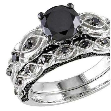 1.23 Carat (ctw) Black Diamond Engagement Ring and Wedding Band Set in 10K White