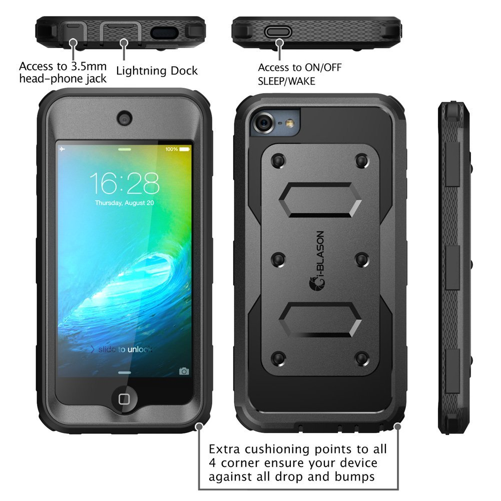 separation shoes 59436 cb7f1 i-Blason iPod Touch 6 Gen Armorbox Dual Layer Full Body Protective Case -  iPod touch 6G - Black - Dot Pattern - Thermoplastic Polyurethane (TPU), ...
