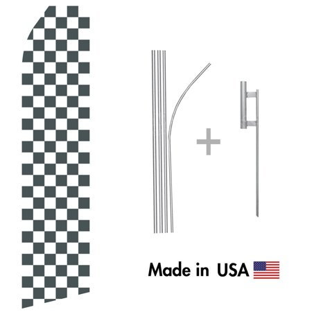 Black and White Checkered Econo Flag | 16ft Aluminum Advertising Swooper Flag Kit with Hardware (Checkered Flag Emoji)