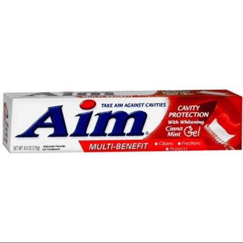 Aim Cavity Protection Toothpaste Gel Whitening Cinnamint 6 oz (Pack of 4)