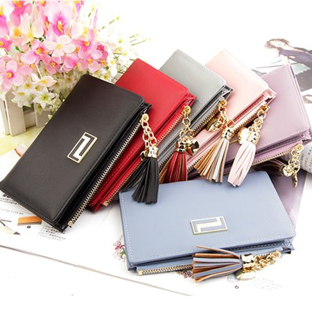 Women PU Leather Wallets Credit Card Holder Document Case Zipper Handbag Purse Long Short Wallets Christmas Valentine's Day Gifts (Leather Document Case)