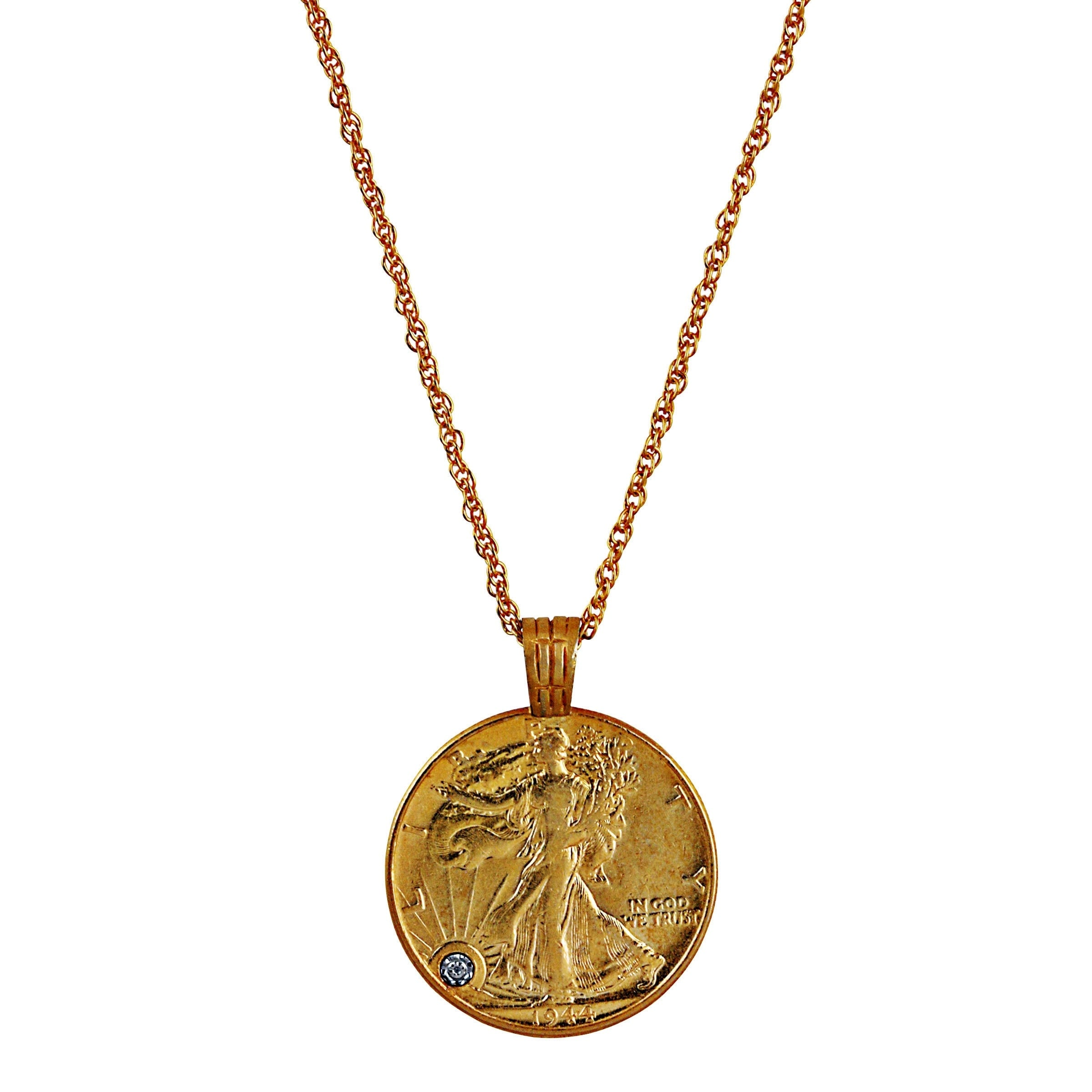 Walking Liberty Half Dollar Cut US Coin Necklace Gold on Silver Pendant w// Chain