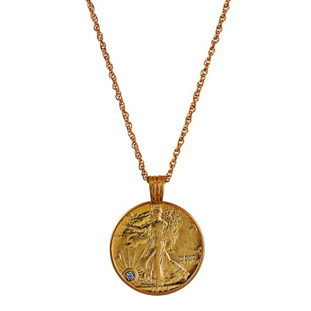 Silver Walking Liberty Half Dollar Gold Layered Coin Pendant With Diamond (Faceted Coin Pendant)