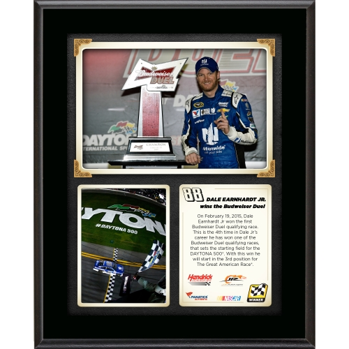"Dale Earnhardt Jr. Fanatics Authentic 10.5"" x 13"" 2015 Budweiser Duel 1 at Daytona International Speedway Race Winner Sublimated Plaque Collage - No Size"