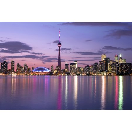 Skyline At Night From Centre Island Toronto Ontario Stretched Canvas - Peter Mintz  Design Pics (34 x 22)
