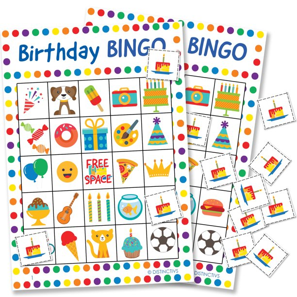 Distinctivs Birthday Bingo Game For Kids 24 Players Walmart Com Walmart Com