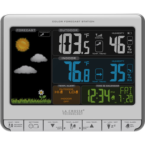 La Crosse Technology Color LCD Wireless Weather Station with USB Charging Port