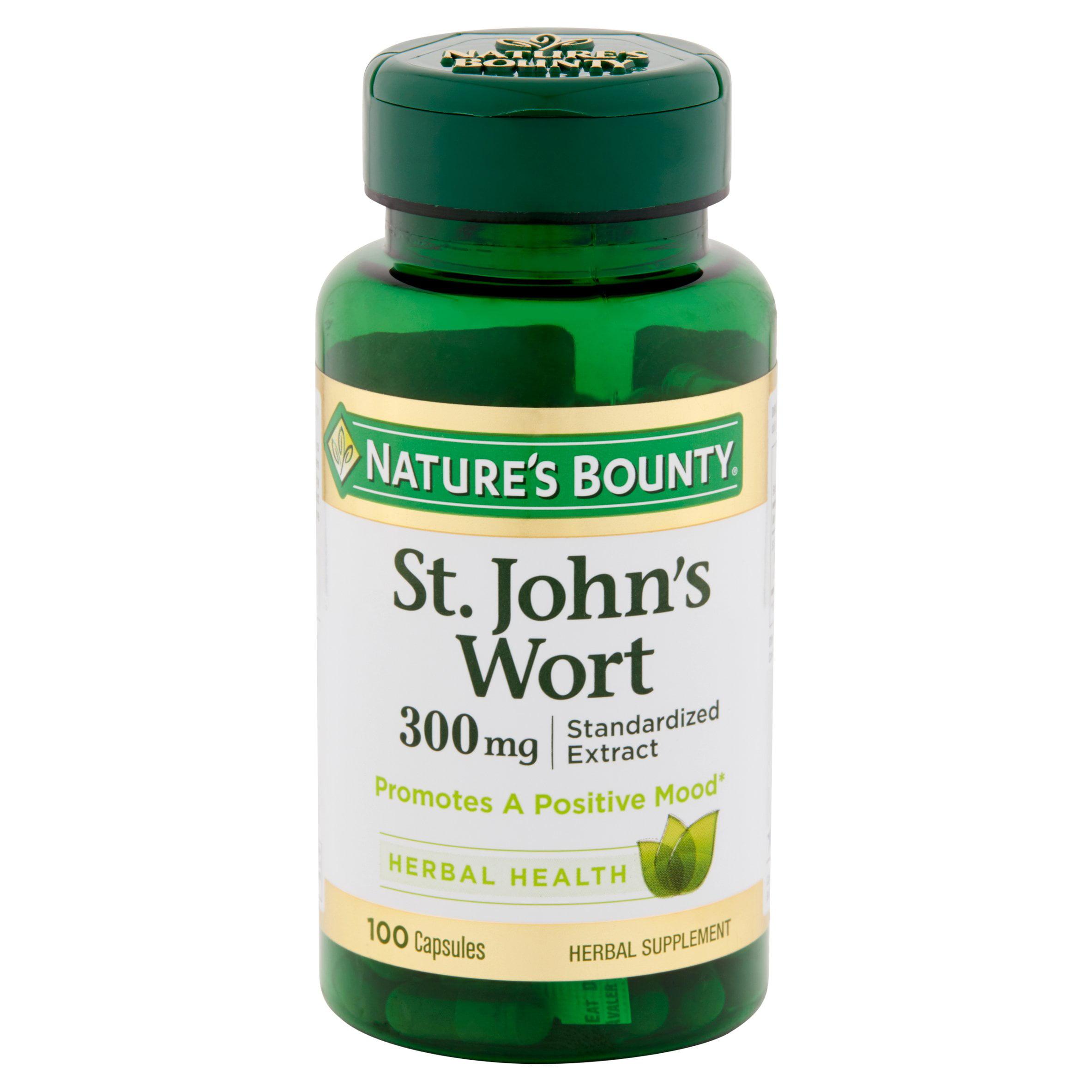 Nature's Bounty St. John's Wort Herbal Health Capsules, 300 mg, 100 count