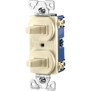 Cooper 271A Almond Combination Two Single Pole Duplex Toggle Switches