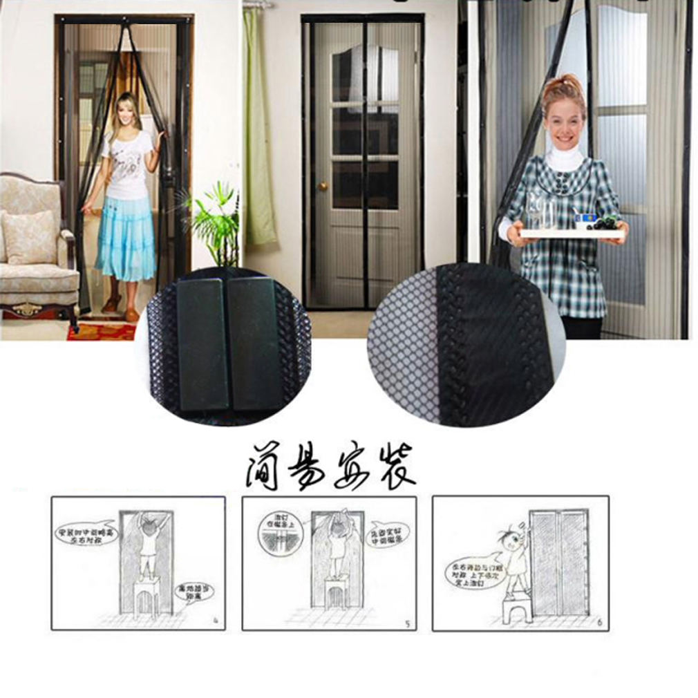 Summer Anti Mosquito Insect Fly Bug Curtains Magnetic Mesh Net Automatic Closing Door Screen Kitchen Curtains black 120*210cm - Walmart.com