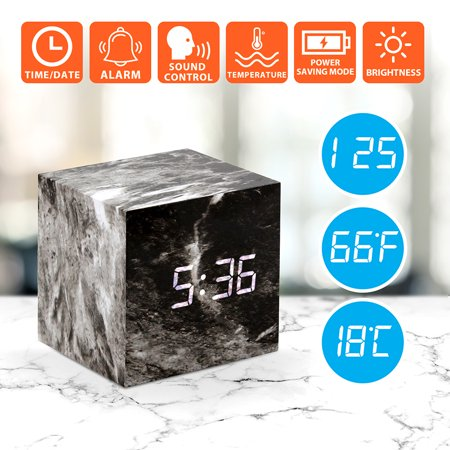 Voice Alert Thermometer (Marble Pattern Alarm Clock Fashion Multi-function LED Desk Digital Alarm Clock with Snooze and USB Power Supply Voice Control Timer Thermometer - White)