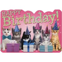 Paper House Productions Row of Birthday Kittens Die Cut Foil Birthday Card For Kids