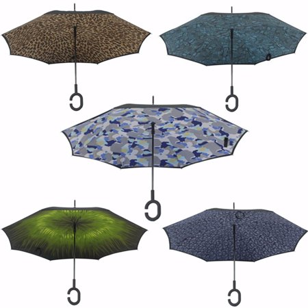 Generic New Upside Down Reverse Inverted Umbrella C Shape Handle Double Layer Inside-Out ()
