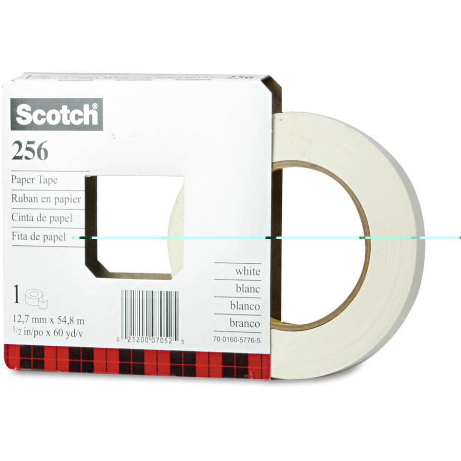 "Scotch 256 Printable Flatback Paper Tape, 1/2"" x 60 yds, 3"" Core"