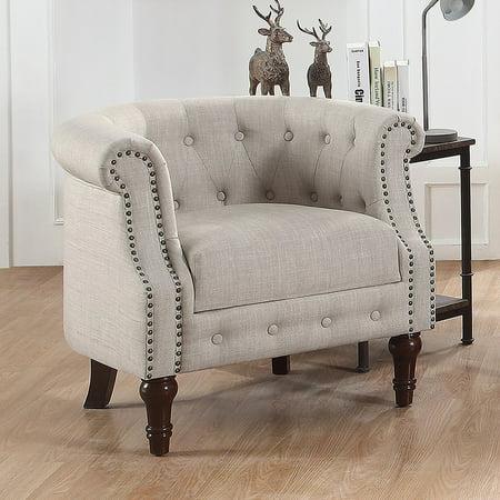 - Alton Furniture Da Vigo Tufted Barrel/Club Chair With Nailhead Trim Arms