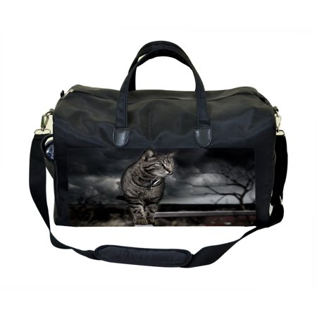 Grey Cat Large Black Duffel Style Weekender Carry On Satchel Bag Large Weekender Bag
