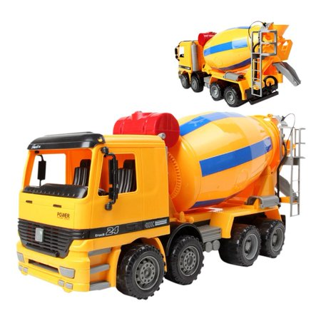Construction Mixer Truck - Cement Mixer Construction Vehicle Powered by Friction For Kids Oversize Friction Cement Mixer Truck Construction Vehicle Toy for Kids