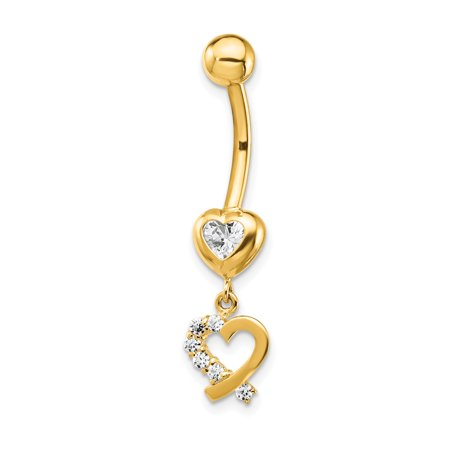 14k Yellow Gold Cubic Zirconia Cz 2 Hearts Dangle Belly Band Ring Body Naval Gifts For Women For Her