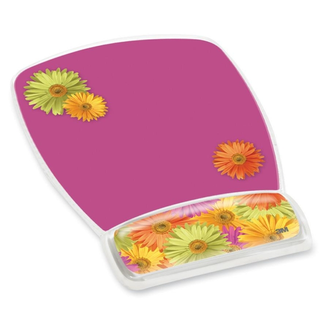 3M Fun Design Clear Gel Mouse Pad Wrist Rest, 6 4/5 x 8 3/5 x 3/4, Daisy Design